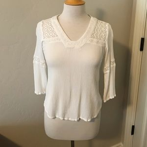 White Embroidered Lace Blouse